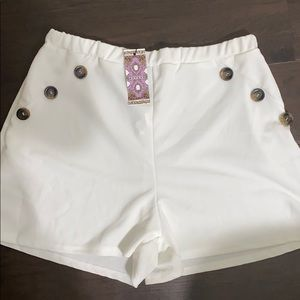 High Waisted Button White Boohoo Shorts